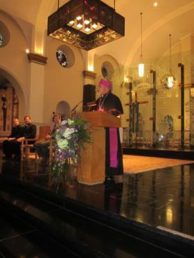 Archbishop Berhaneyesus Souraphiel addressed a gathering at Niagara University Tuesday.