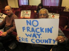 Protesters turned out at a public hearing on fracking Tuesday night.