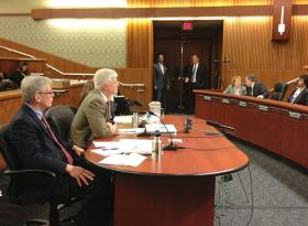 DEC Commissioner addresses legislative budget hearing in Albany.