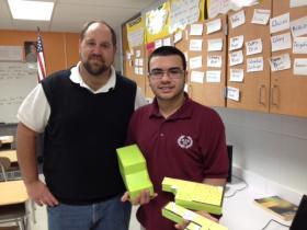 Buffalo Public's Community School #53 Teacher Richard Buchnowski and Student Nelson Rodriguez.
