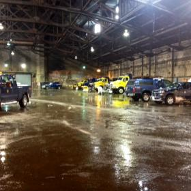 Inside the city's Broadway garage -- the hub of the city's snow fighting fleet.
