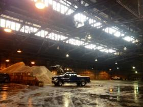Inside city's Broadway garage -- the hub of city's snow fighting equipment and big pile of salt to treat the streets.
