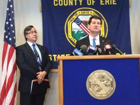 Erie County Executive Mark Poloncarz announces Medicaid fraud with County's Medicaid Inspector General.