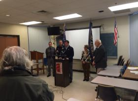 Erie County Executive Mark Poloncarz updating media on Blizzard at emergency services in Cheektowaga.