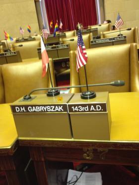 Gabryszak's former Assembly desk in Albany, NY.