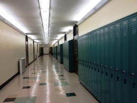 Inside the hallway of a Buffalo Public School.