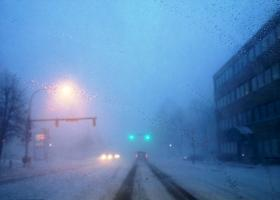 Snow storm along Main Street in Buffalo.
