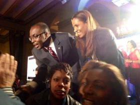 Mayor & his wife celebrated his reelection in November 2013.