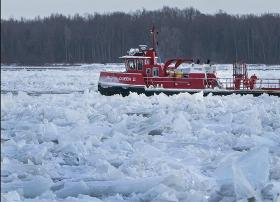 An ice breaker works on the Niagara River Thursday north of Goat Island.