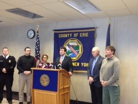 Erie County officials join County Executive Mark Poloncarz to prepare for winter storm conditions.