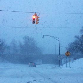 Poor visibility on Delaware Avenue in Buffalo.