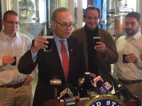 Sen. Schumer speaking Tuesday at the Pearl Street Grill and Brewery