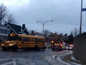 First Student school bus involved in crash on Parkside at Linden in North Buffalo Monday morning.