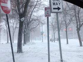 Snowy conditions in downtown Buffalo.
