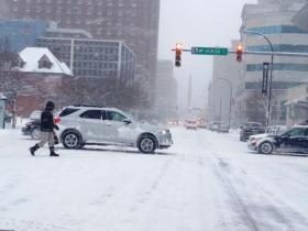Snowy conditions continued Wednesday morning in downtown Buffalo.