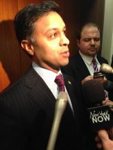 Heath Commissioner Dr. Nirav Shah provides few details to reporters about his review of the health effects of fracking.