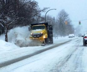 Buffalo snow plow clearing snow Thursday morning along Forest Avenue between Delaware and Elmwood Avenues.