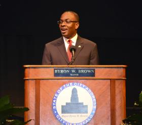 Mayor Brown delivering State of the City Address.