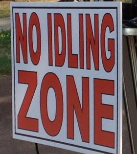 No Idling Zone signs were placed near Peace Bridge Plaza in 2012 under a 'no idling' policy at the on an effort to improve air quality.