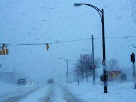 White out conditions along Delaware Avenue in north Buffalo near the Target Plaza Thursday morning.