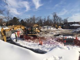 Construction equipment at site of future polar bear exhibit