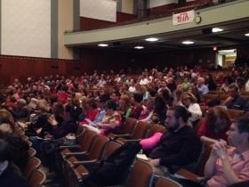 Parents sit for Jamestown education forum.