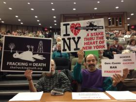 Protesters reiterated their stance on fracking at Monday's legislative hearing.