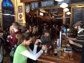 A large crowd gathered at the Blue Monk on Wednesday to celebrate Buffalo's second blizzard of the season.