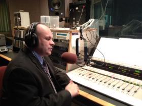 Buffalo News reporter Brian Meyer in the WBFO studio.