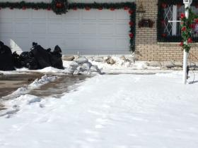 Sandbags line the perimeter of West Seneca residents home.