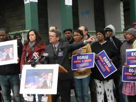 Eddi Egrui announces his Congressional campaign in Buffalo.