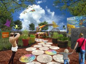 An artist rendering of a planned rooftop garden at the new Explore & More children's museum.