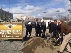 Brewery operators and elected officials broke ground on the new Flying Bison brewery Friday morning.