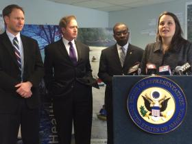 EPA Great Lakes Administrator Cameron Davis, Rep. Brian Higgins, Mayor Byron Brown, and Buffalo Niagara Riverkeeper Executive Director Jill Jedlicka attended Monday's announcement.
