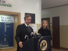 Congressman Brian Higgins and Jackie James Creedon of Citizen Science Community Resources.