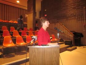 CFO Barbara Smith delivered bad financial news at Wednesday's School Board meeting.