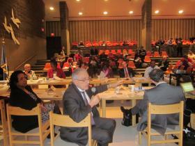 Buffalo School Board member Carl Paladino speaking during Wednesday's School Board meeting at Waterfront School.