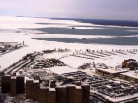 Ice along the Lake Erie shoreline in downtown Buffalo.