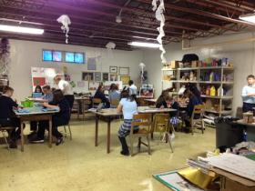 Students in art class at Mary Queen of Angels