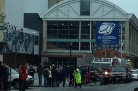 College hoops fans make their way into First Niagara Center.