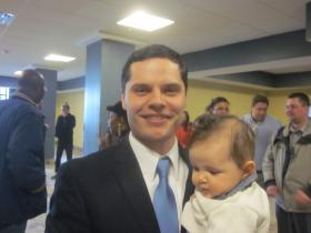 Democratic candidate Jim O'Donnell and son Lucas