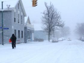 Blizzard conditions continue in Buffalo. Sixteenth Street at Breckenridge is a snowy scene.