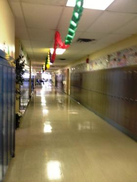 Inside the hallway at Community Charter School in Buffalo.