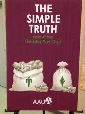 Signage about equal pay day.