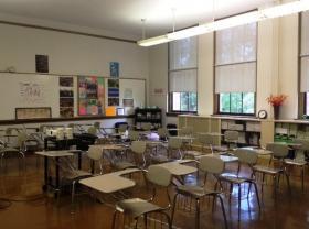 Inside a school classroom.