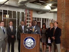 Mayor Byron Brown unveils 'Preservation Ready Study' at the Planning Mill located on Elm Street in downtown Buffalo.