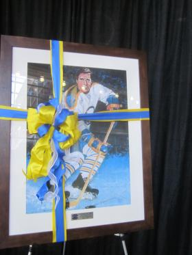 A massive portrait of Tim Horton as a Buffalo Sabre will adorn the new HarborCenter restaurant.