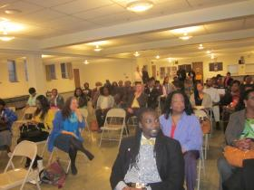 A large crowd attended the debate at First Shiloh Baptist Church on Pine Street.