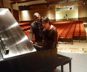 Antonio Hart works with student piano player in the Theolonious Monk Institute, Connie Han.