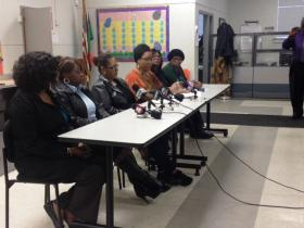 A group of Buffalo Public School mothers speaking out against Tanner tests for students.